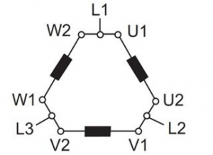 The method for connecting the motor to the terminal blocks for star or delta connection is shown in the picture below.